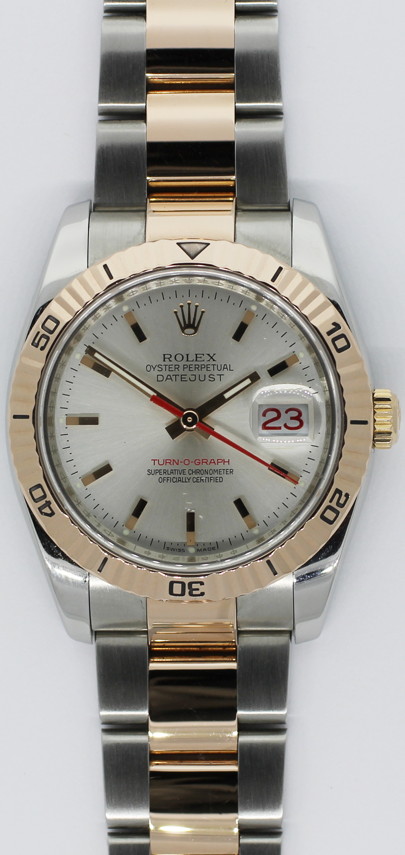 Rolex Datejust Turn-O-Graph 18k Rose Gold & Steel 116261 D Serial
