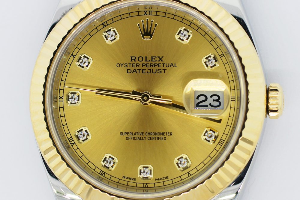 Rolex 18k Yellow Gold & Steel Datejust II Factory Diamond Dial 126333 with Box & Booklets