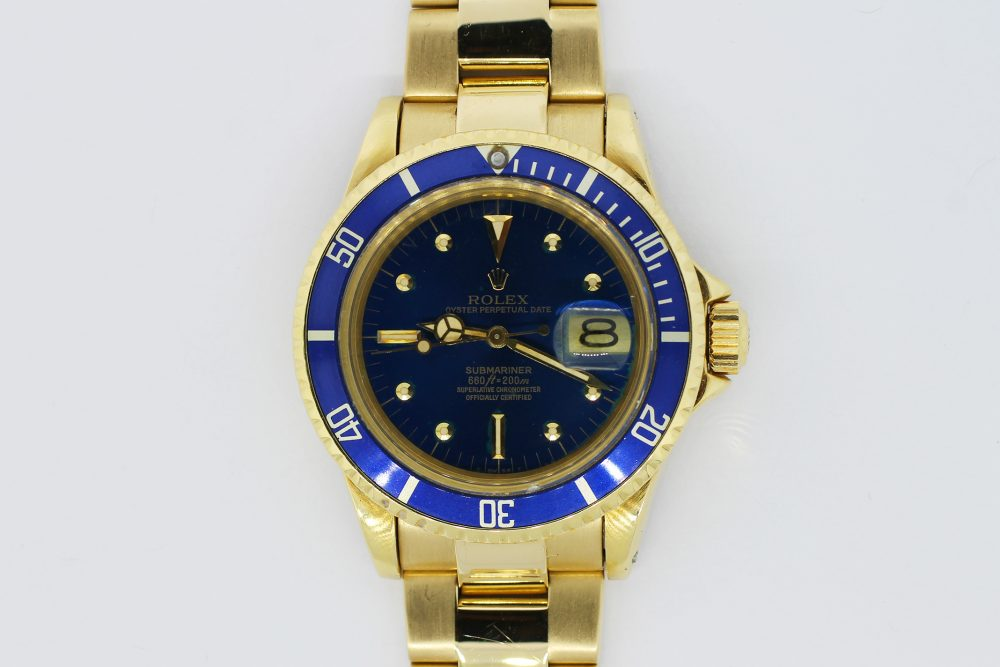 Rolex 18k Yellow Gold Blue Submariner 1680 with Box