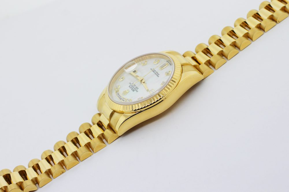 Rolex 18k Yellow Gold Day-Date White Mother of Pearl Factory Diamond Dial 118238 with Box & Card