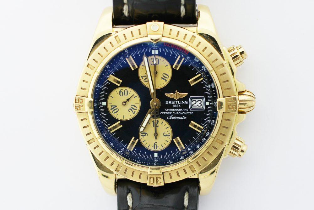 Breitling 18k Yellow Gold Chronomat Evolution Black Dial K13356 with Folding Breitling Clasp