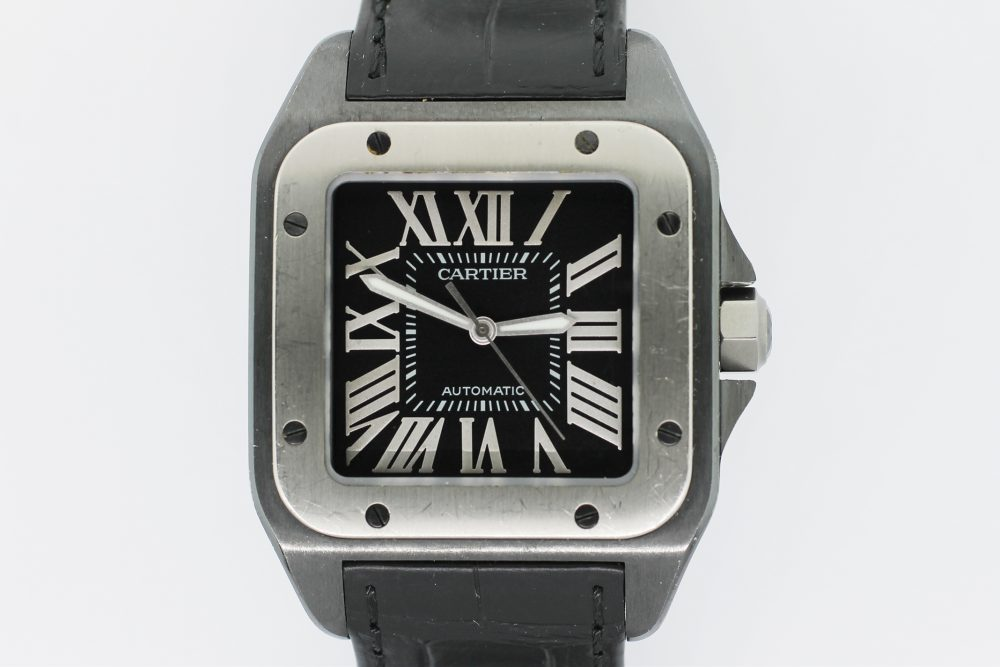 Cartier Factory Black Steel Santos 100 W2020010 with Box & Booklets