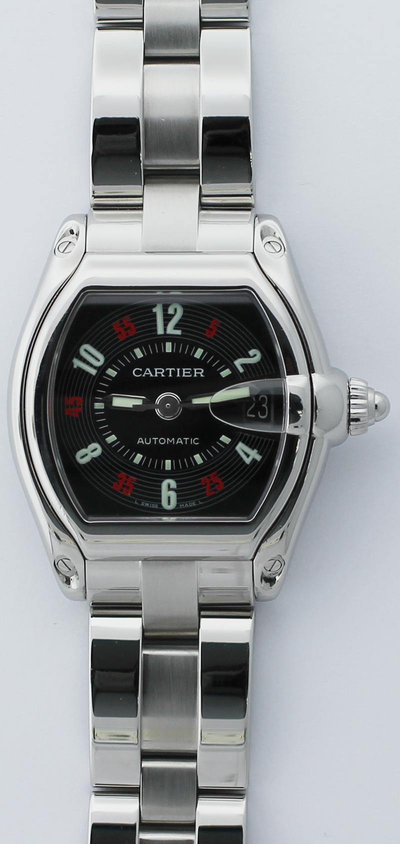 Cartier Steel Roadster Black Dial W62002V3