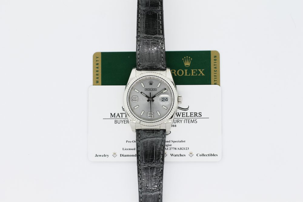 Rolex 18k White Gold Datejust 116139 with Box & Card