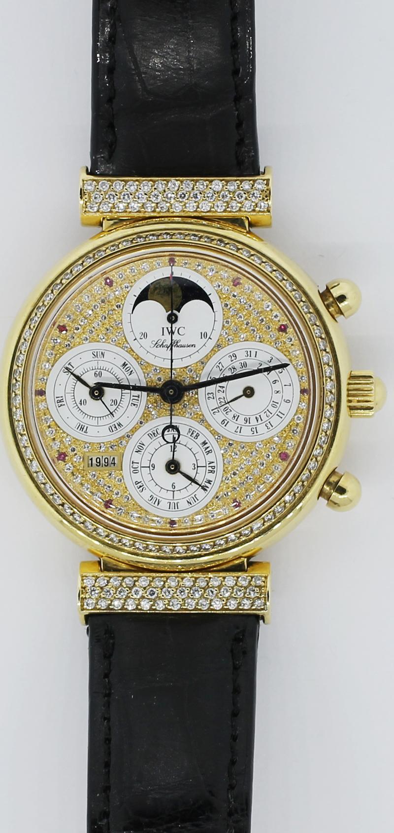 IWC 18k Yellow Gold Factory Diamond & Ruby Set First Generation Da Vinci with Box