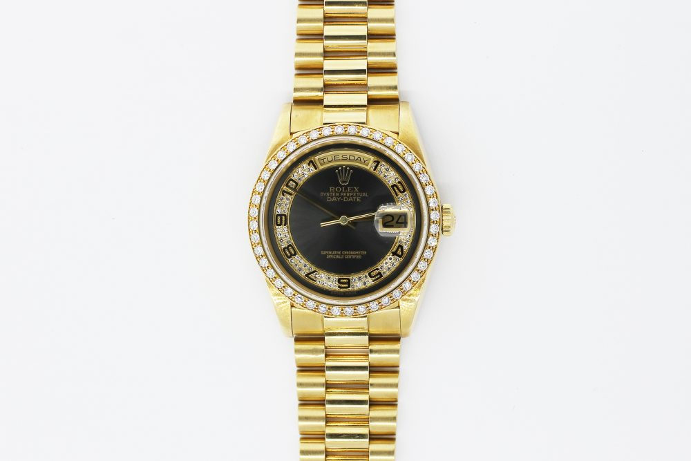 Rolex 18k Yellow Gold Day-Date Factory Diamond Bezel Factory Diamond Dial 18238 with Box & Booklets