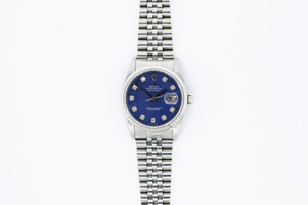 Rolex Steel Datejust Factory Diamond Sodalite Dial 16234 with Box & Booklets