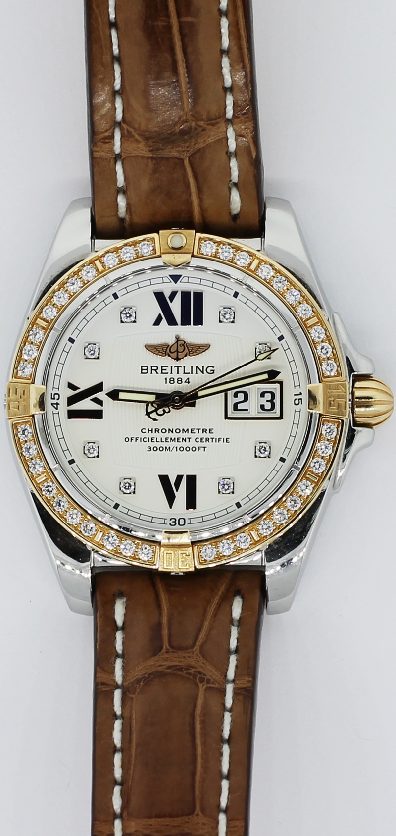 Breitling Steel & 18k Rose Gold Cockpit Factory Diamond Dial C49350 on Strap