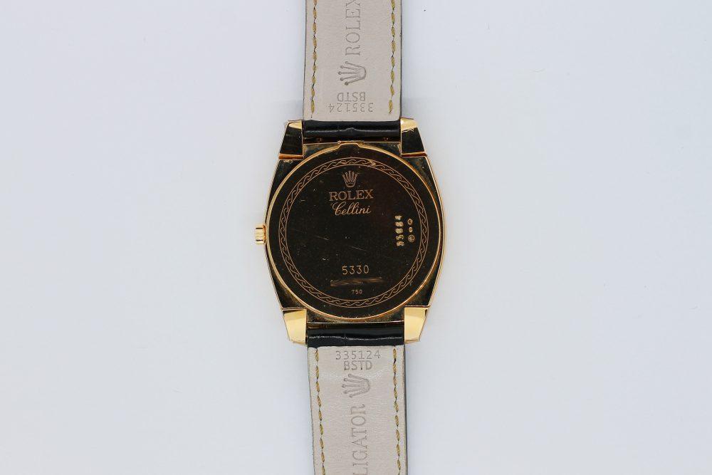 Rolex 18k Rose Gold Cellini Cestello Grey Slate Sunburst Dial 5330 with Box & Booklets