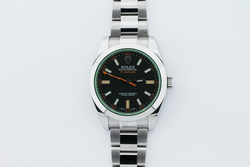 Rolex Steel 50th Anniversary Milgauss 116400GV (Green Crystal) Box & Card