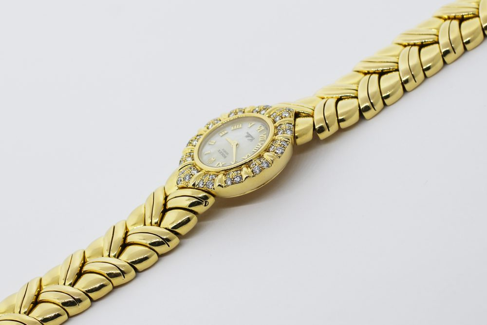 Rolex 18k Yellow Gold Cellini Factory Diamond & Factory White Mother of Pearl Roman Dial with Box & Booklets