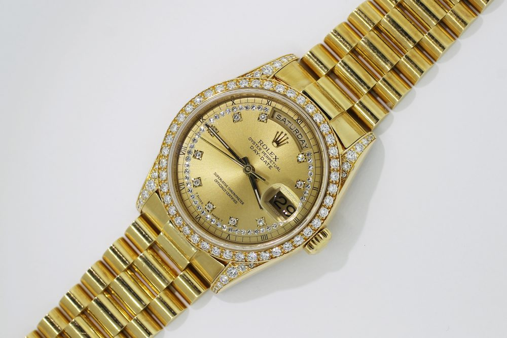 Rolex 18k Yellow Gold Day-Date Factory Diamond Bezel Factory Diamond Dial 18388 with Box & Booklets