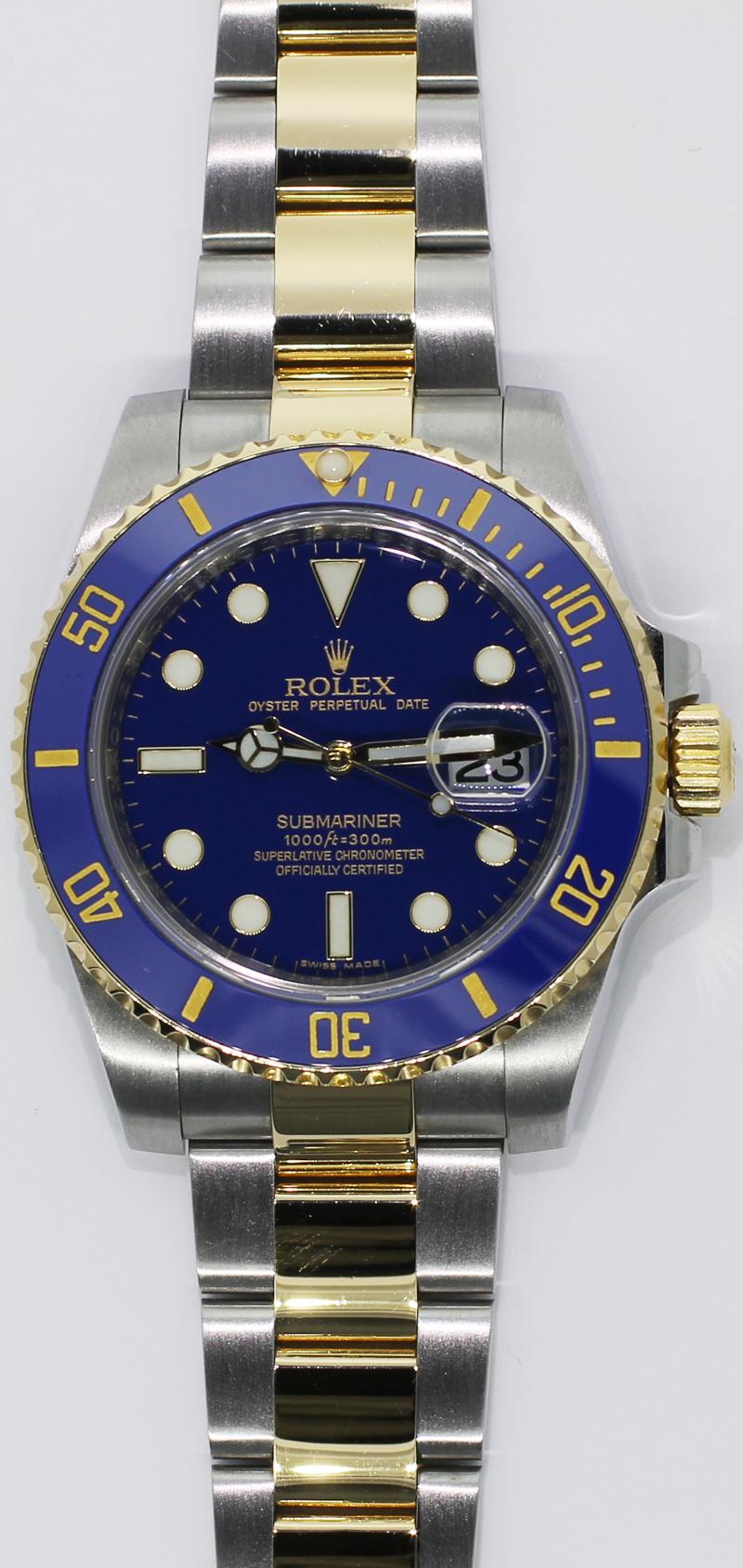Rolex Two Tone Blue Ceramic Submariner 116613 V Serial