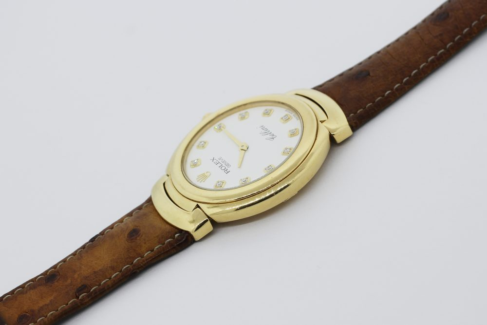 Rolex 18k Yellow Gold Cellini Factory Diamond Dial 6623 with Box & Booklets