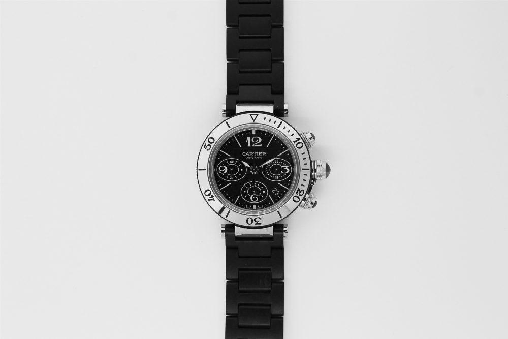 Cartier Steel Pasha 42mm Chronograph W31088U2 with Black Rubber Bracelet
