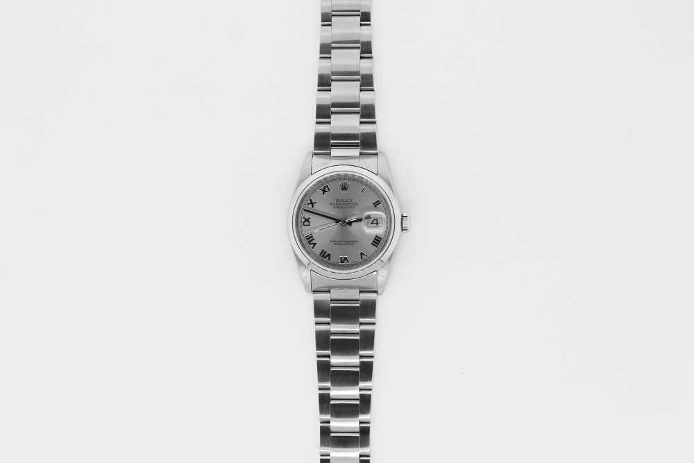Rolex Steel Datejust Rhodium Bold Roman Dial 16200 with Box & Papers