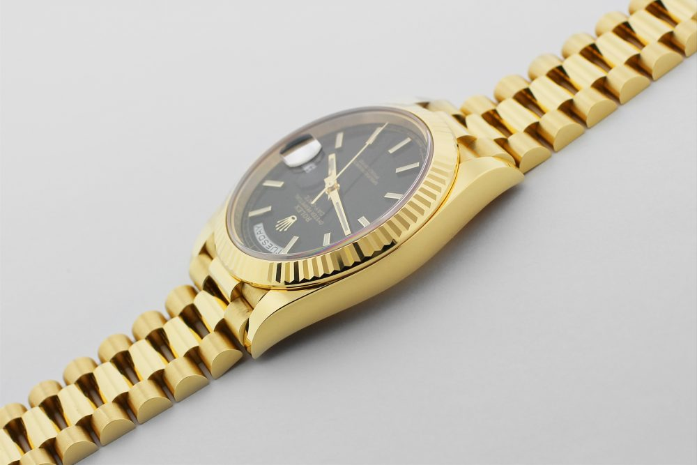 Rolex 18k Yellow Gold Black Motif 40MM Day-Date 228238 with Box & Card
