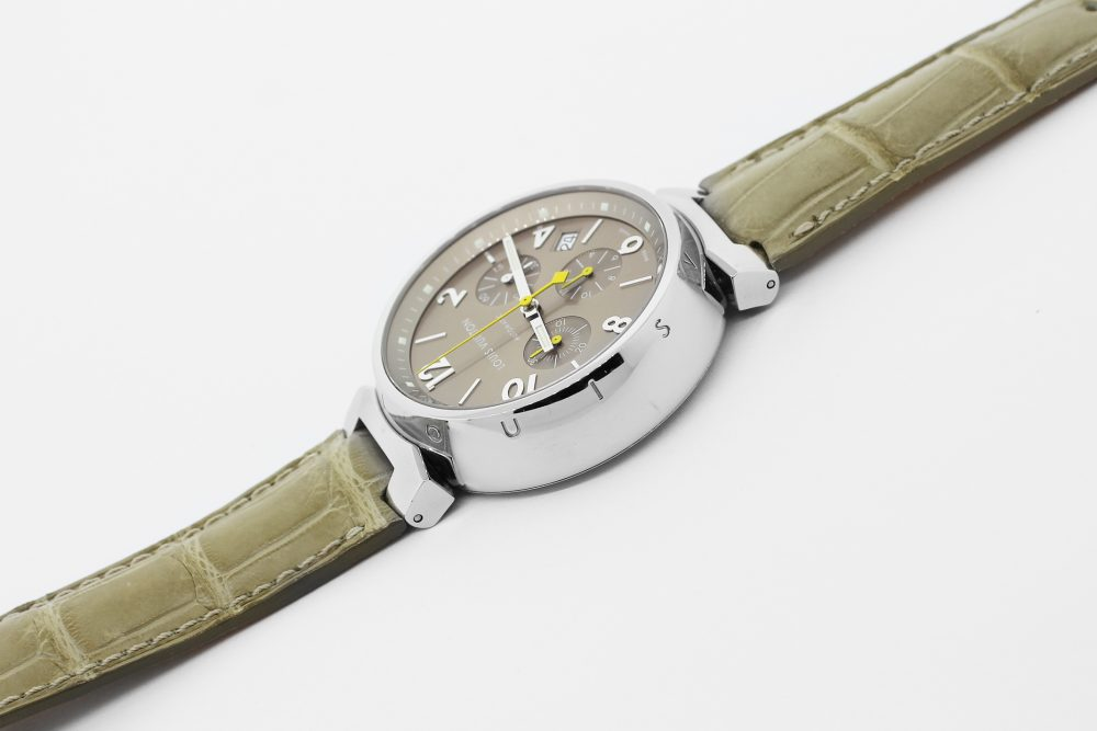 Louis Vuitton Steel Grey Dial Tambour Chronograph Q1122 on Strap