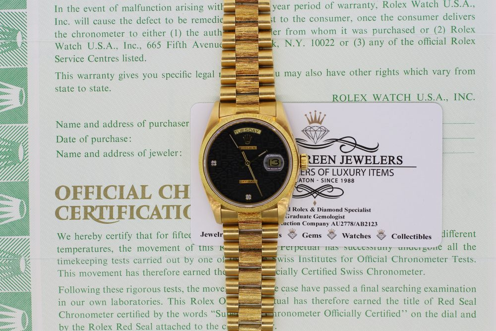 Rolex 18k Yellow Gold Bark Day-Date Factory Black Jubliee Diamond Dial 18078  with Box & Papers