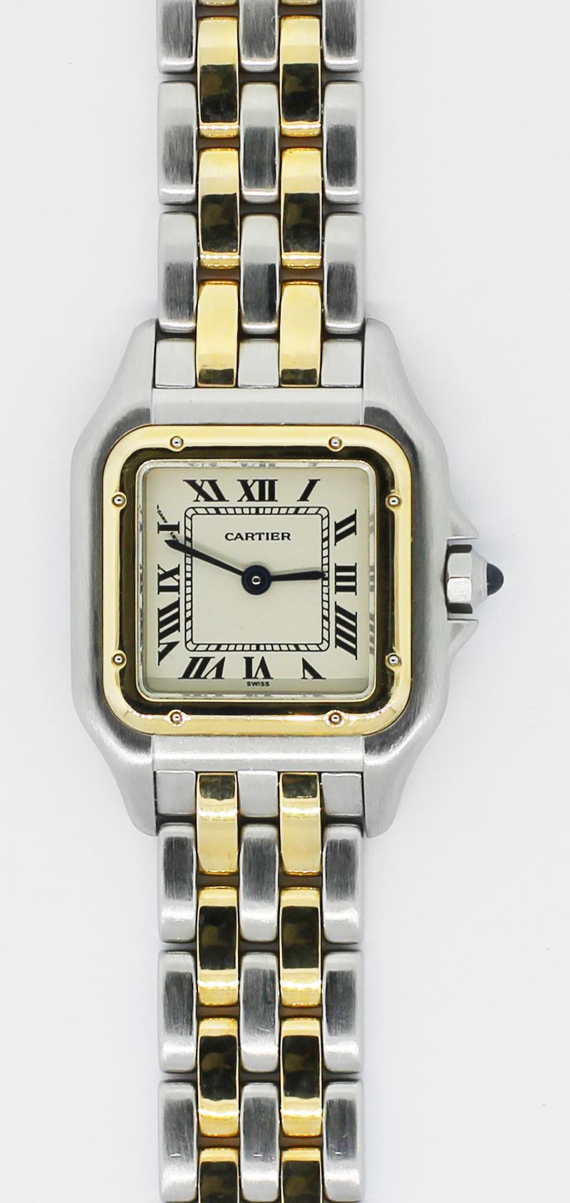 Cartier 18k Yellow Gold & Steel Ladies Small 2-Row Panthere De Cartier Quartz