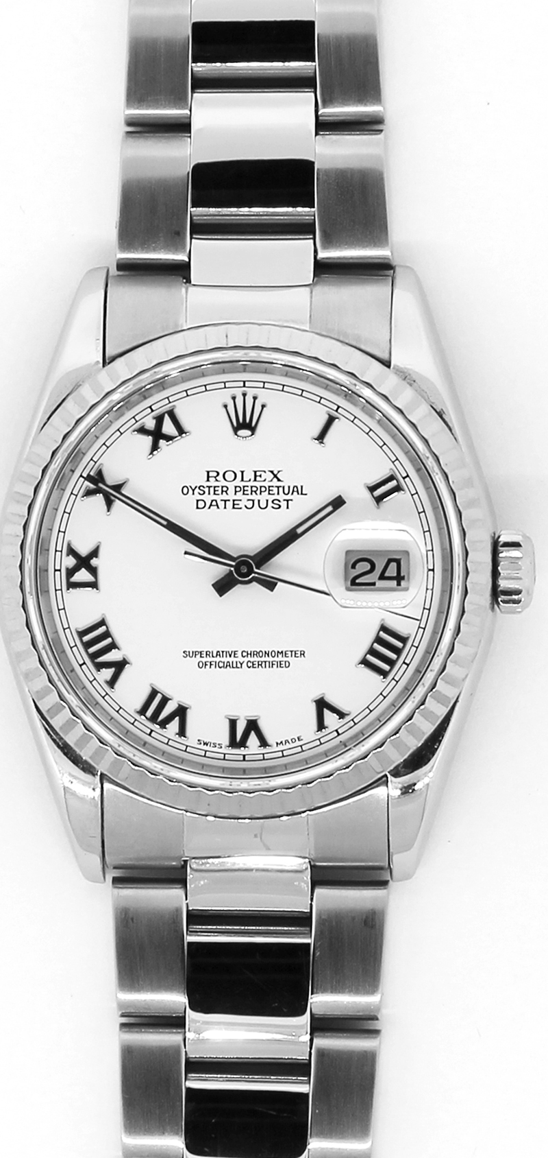 Rolex Steel Datejust White Bold Roman Dial 16200 with Box & Booklets