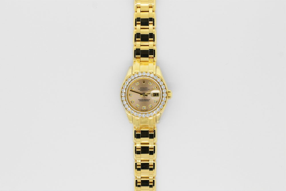 Rolex 18k Yellow Gold Masterpiece Full Factory Diamond Bezel Factory Light Pink Diamond Dial Model 80298 Box & Booklets