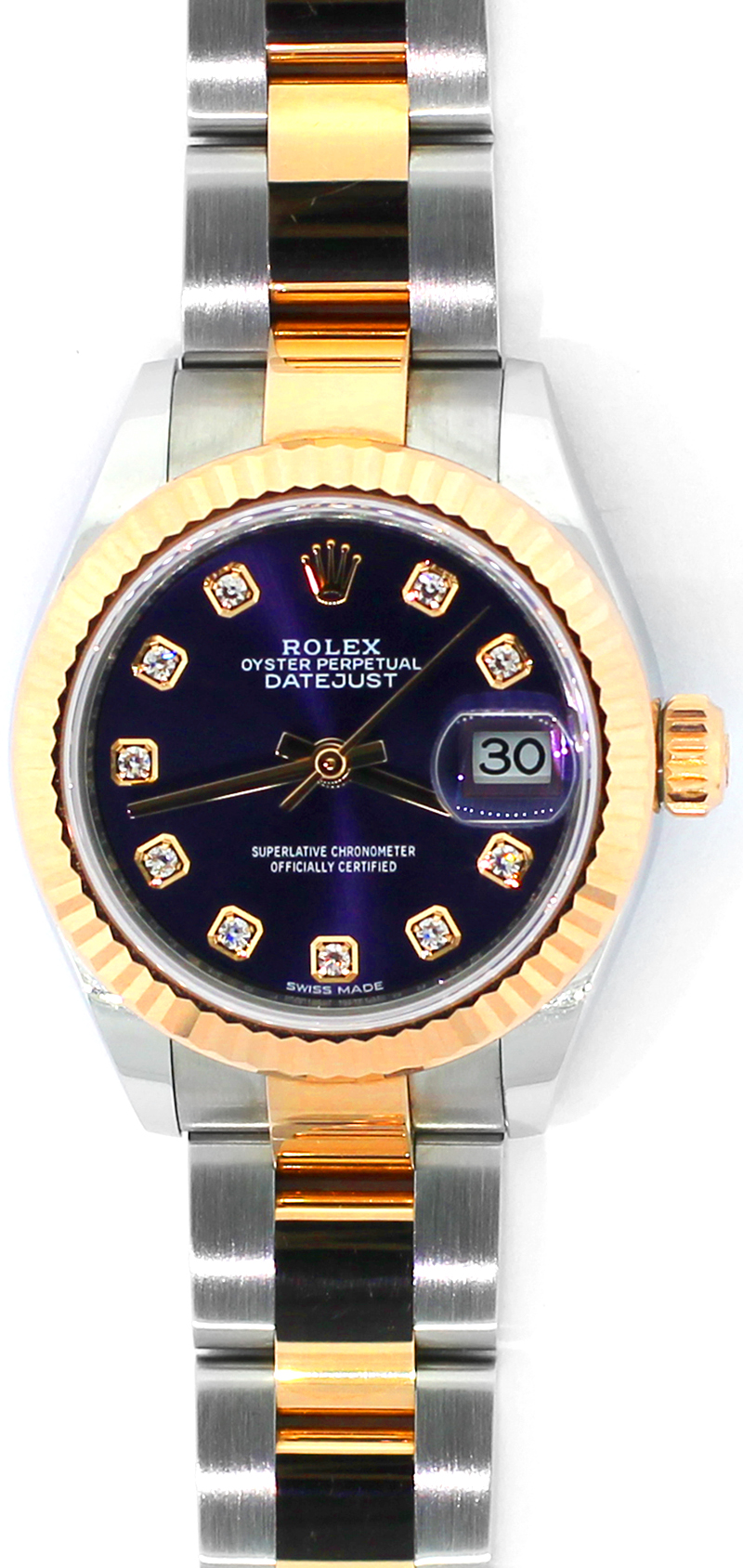 Rolex 18k Rose Gold & Steel Datejust Factory Aubergine Diamond Dial Model 279171 with Box & Card