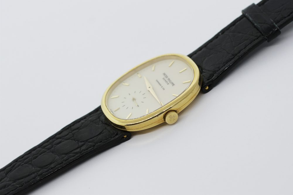 Patek Philippe 18k Yellow Gold 3948J Double Signed Tiffany & Co. Enamel Dial Ellipse with Box & Booklets