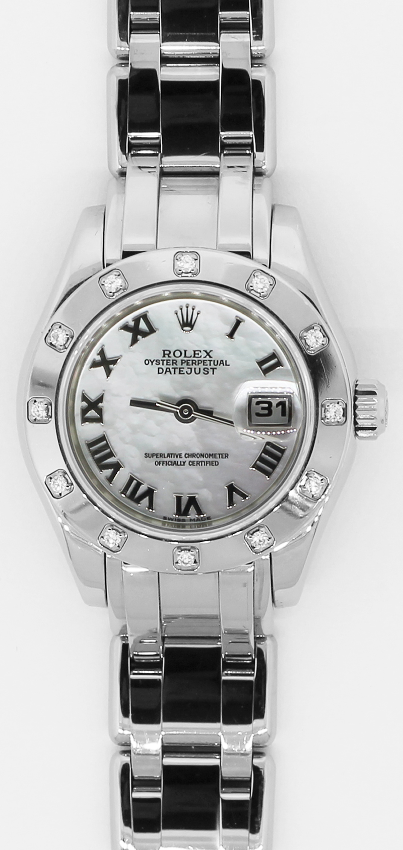 Rolex 18k White Gold Masterpiece Factory 12 Diamond Bezel Factory White Mother of Pearl Roman Dial Model 80319 Complete with Box & Papers