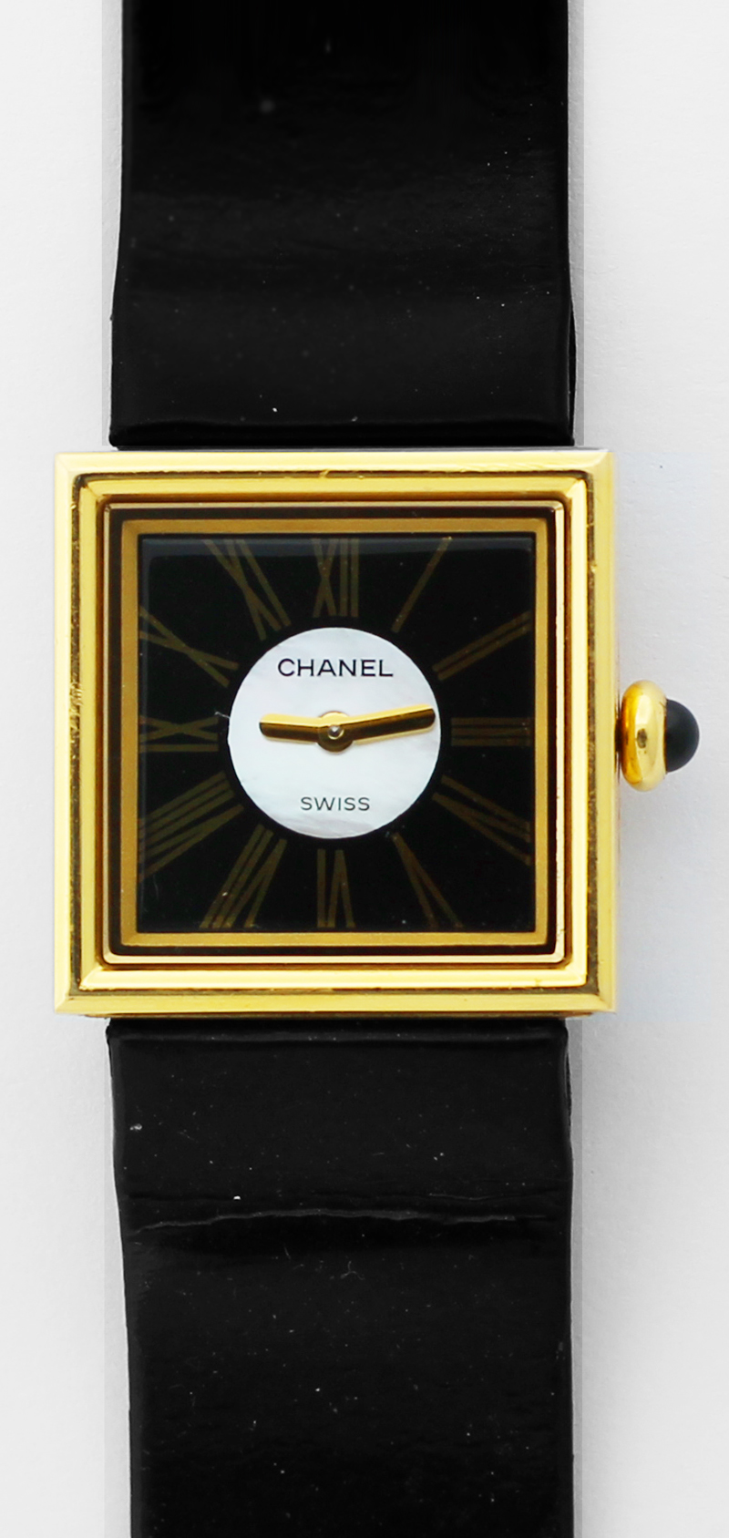 Chanel 18k Yellow Gold Mademoiselle Tank Style with Factory Mother of Pearl Dial with Box