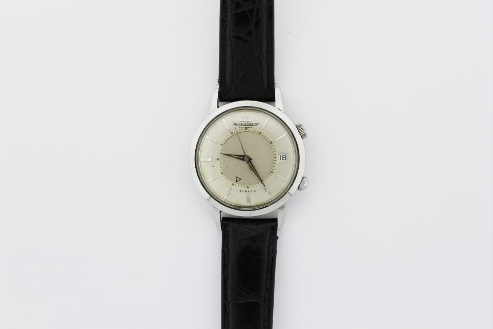 "Vintage Jaeger LeCoultre Steel Memovox Double Signed ""TURLER"" Alarm Watch"