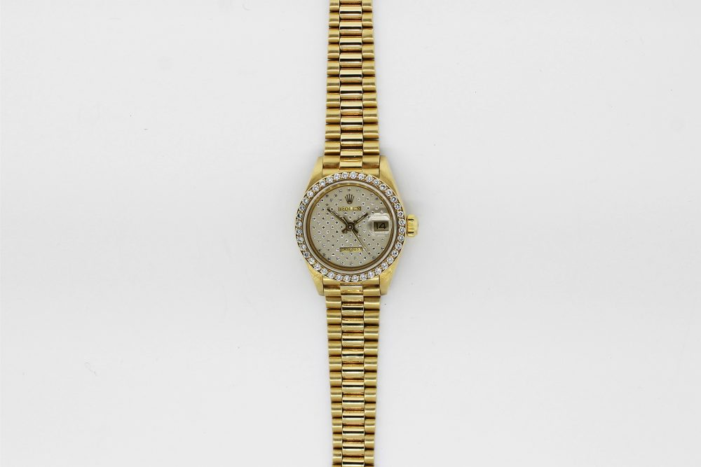 Rolex 18k Yellow Gold President with Factory Diamond Bezel and Factory Diamond Dial Model 69138 with Box & Booklets