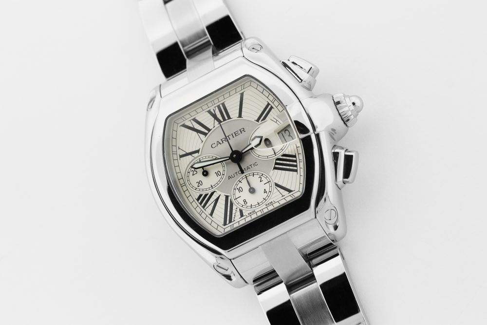 Cartier Steel Roadster White Dial Chronograph W62019X6 with Box & Booklets
