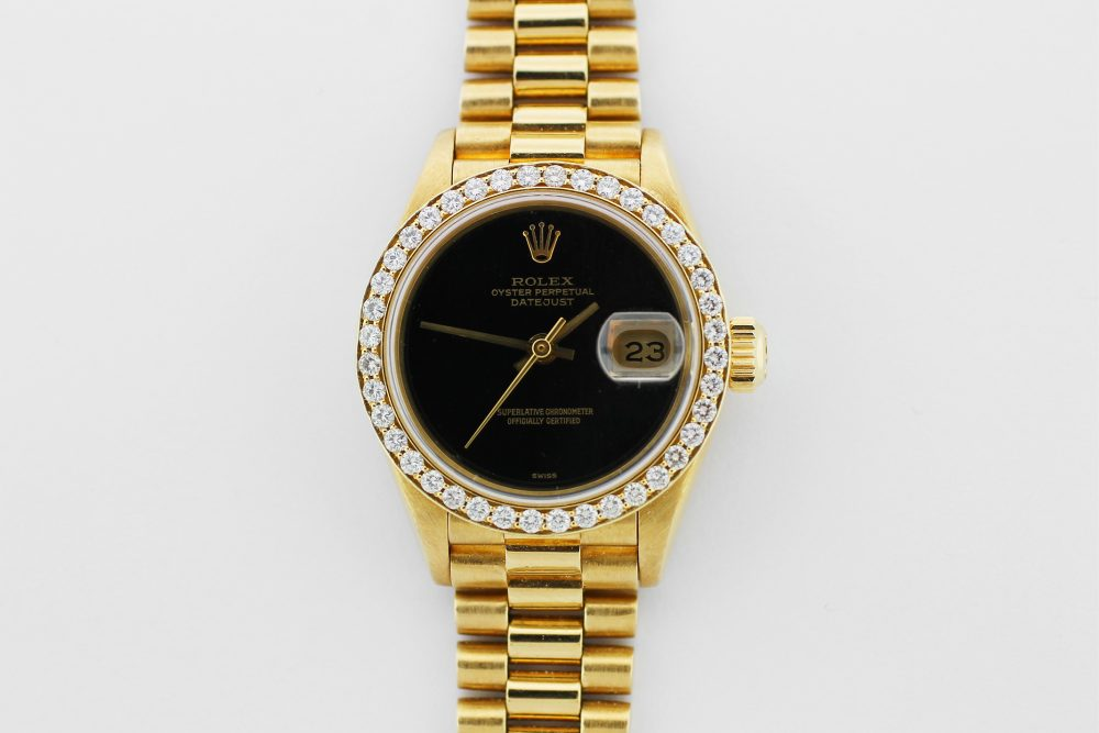 Rolex 18k Yellow Gold President with Custom Diamond Bezel and Black Onyx Dial Model 69178 Complete with Box & Papers