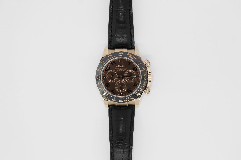 Rolex 18k Rose Gold Discontinued Ceramic Chocolate Arabic Dial Daytona 116515 with Box & Booklets