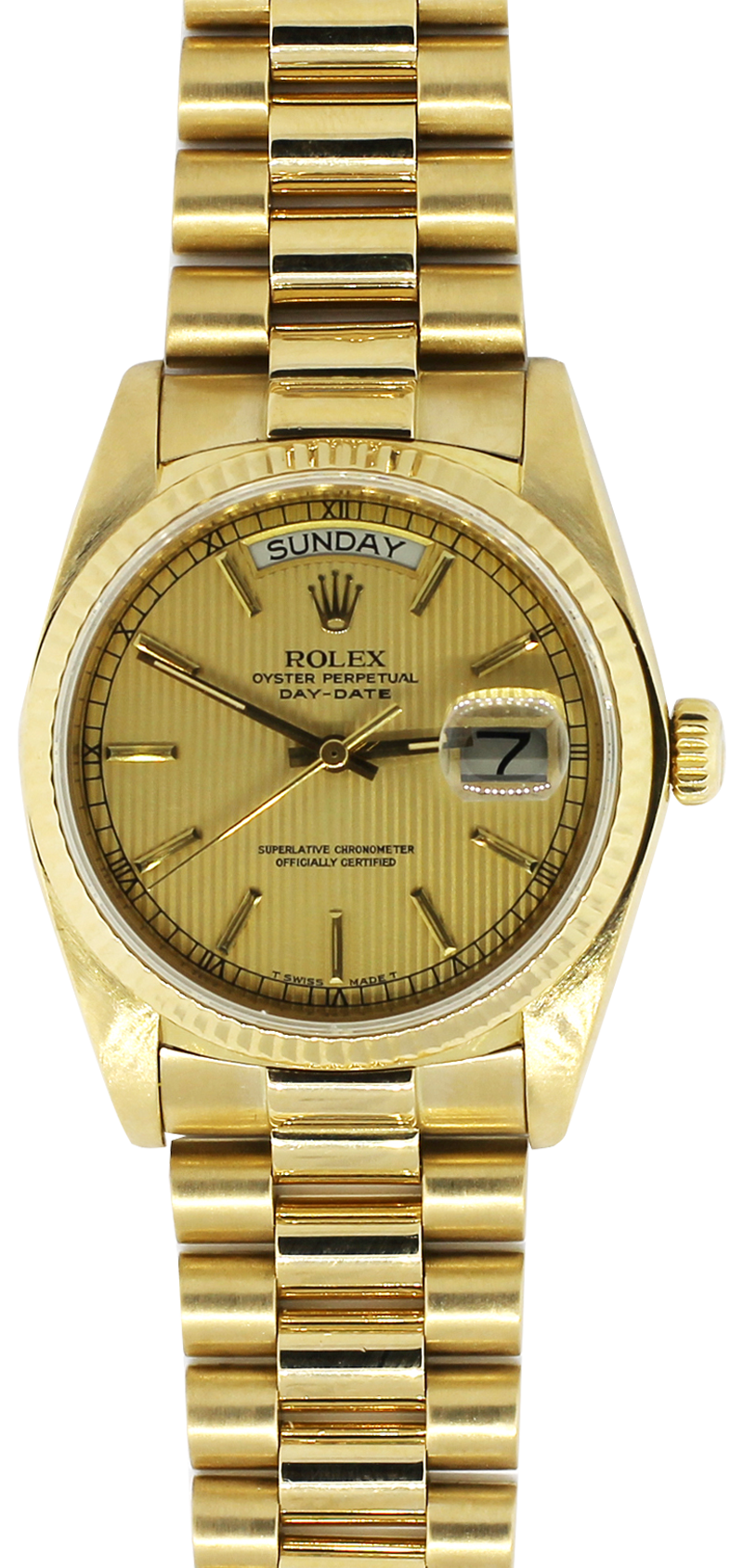 Rolex 18k Yellow Gold Tapestry Dial 18038 with Box & Booklets