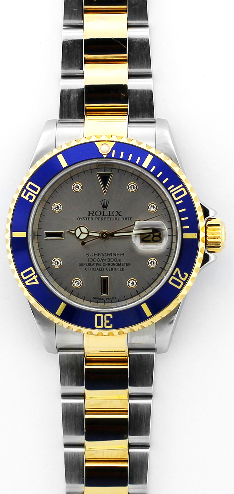 Rolex Two Tone Submariner Slate Serti Diamond & Sapphire Dial 16613 with Box & Paper
