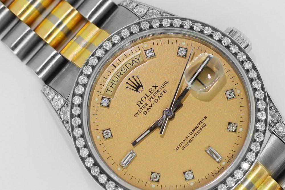 Rolex 18k Yellow White Rose Gold Tridor Day-Date Factory Diamond Dial Custom Diamond Lugs Custom Diamond Bezel 18039 B with Box & Paper