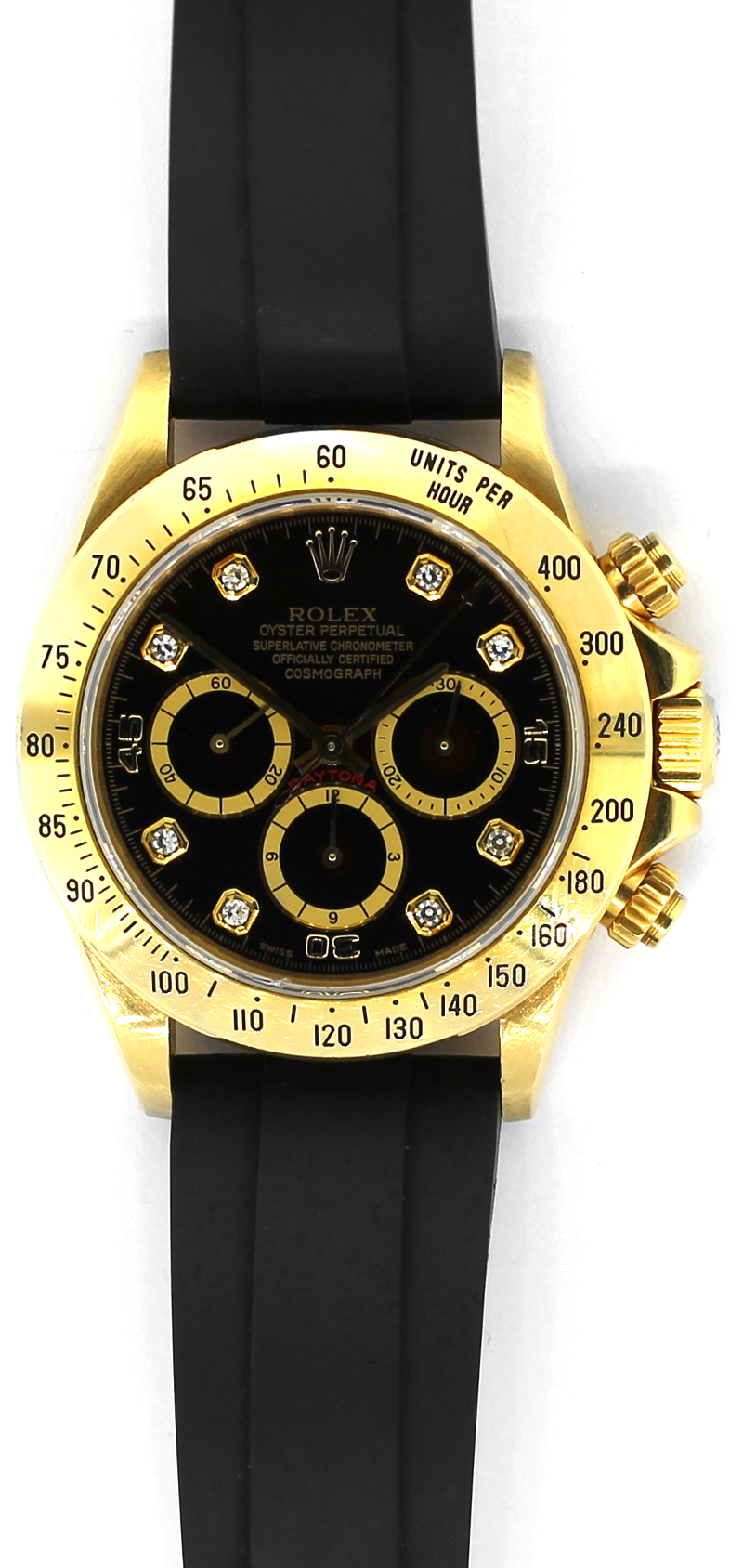 Rolex 18k Yellow Gold Daytona Black Factory Diamond Dial with Zenith Caliber Movement 16528 on Rolex Oyster Flex Rubber Strap with Box & Booklets