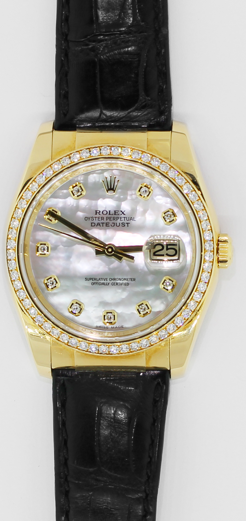 Rolex 18k Yellow Gold Datejust White Mother of Pearl Diamond Dial 116188 with Box & Booklets