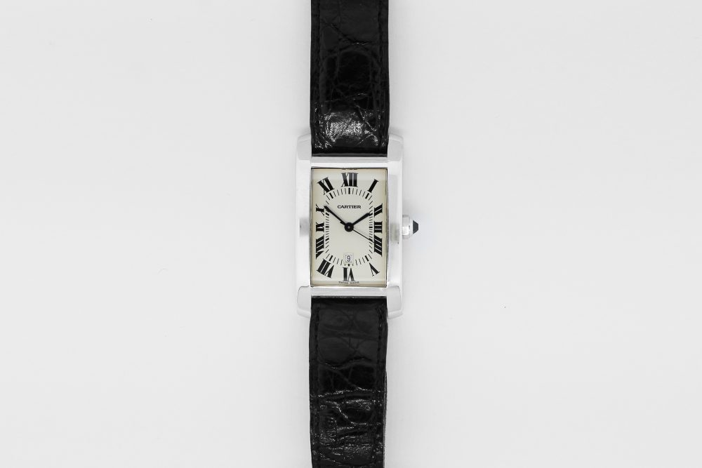 Cartier 18k White Gold Manual Wind Tank Americaine on Strap with Folding 18k White Gold Clasp