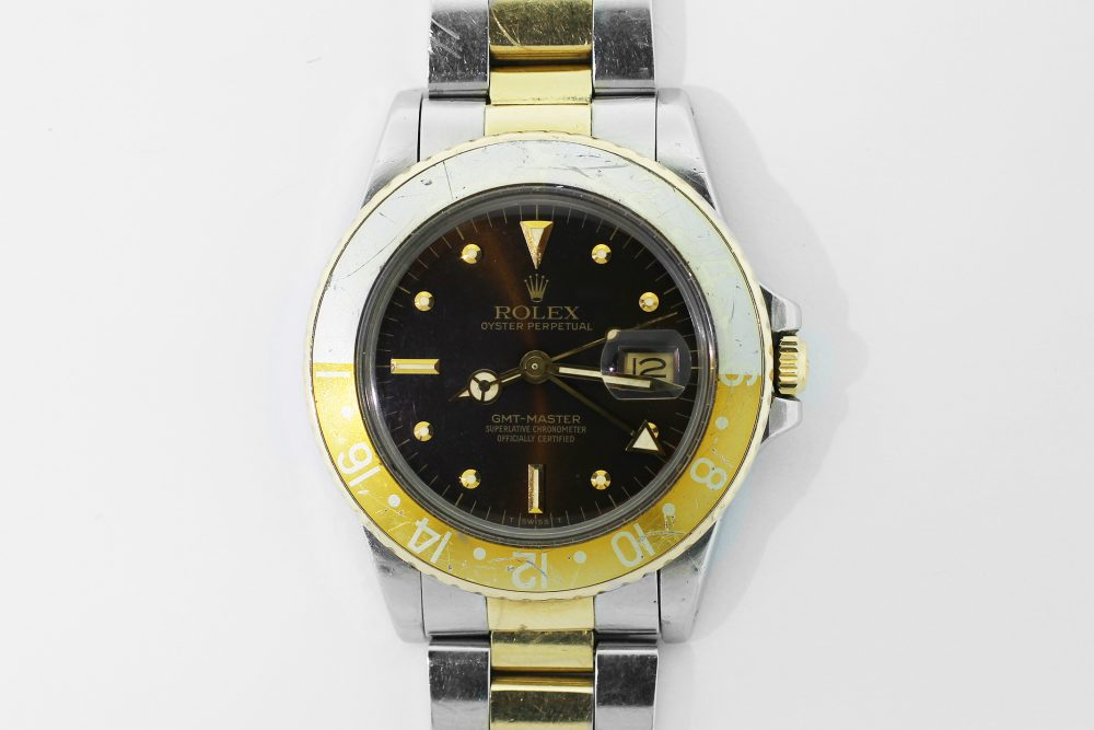 """Rolex Two-Tone GMT-Master """"Root Beer"""" 16753 with Brown Nipple Dial on Jubliee Bracelet"""