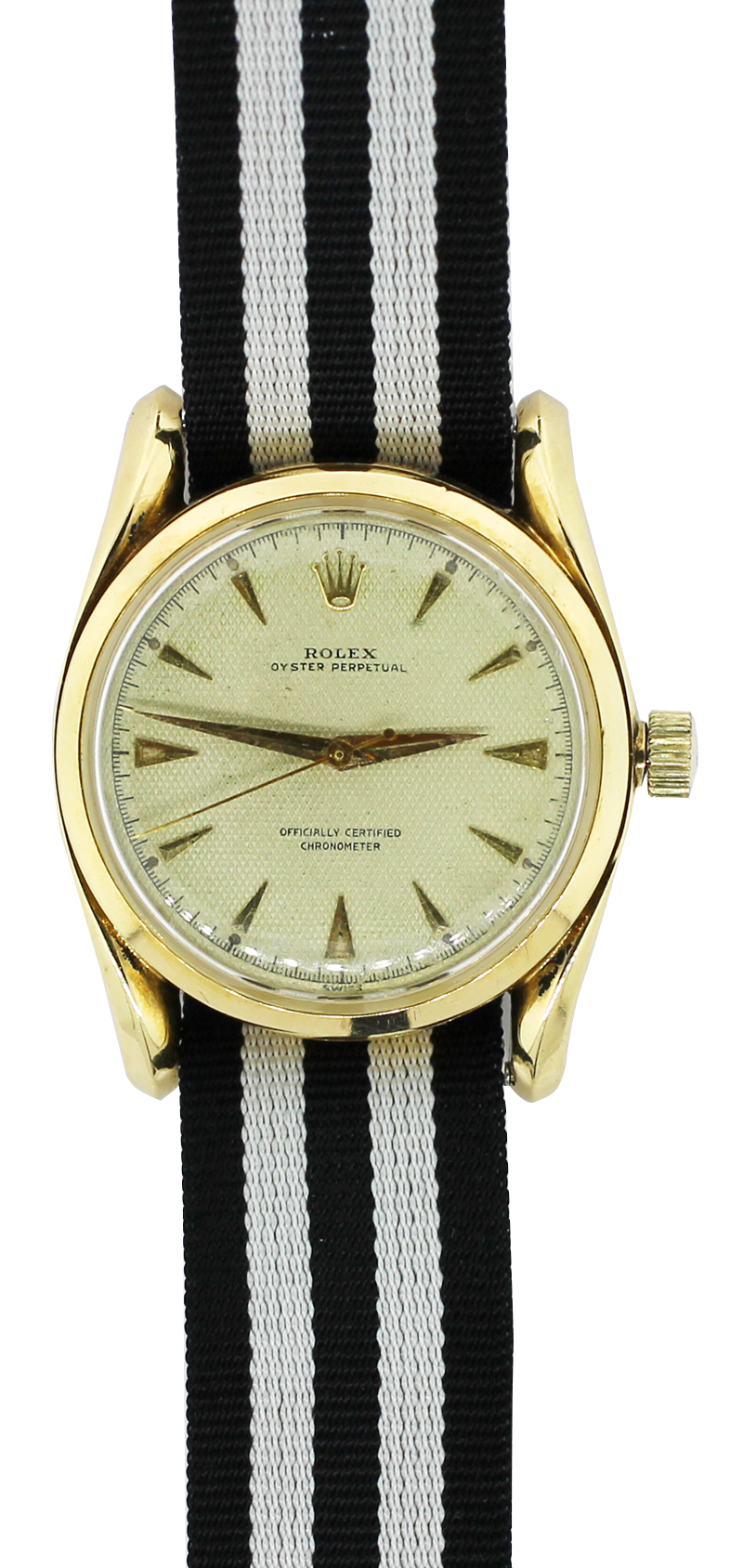 Vintage Rolex 18k Yellow Gold Oyster Perpetual with Textured Waffle Off-White Dial 6092