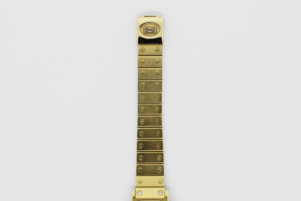Cartier 18k Yellow Gold Quartz Santos Octagonal Factory Diamond Dial & Lugs on Screw Link Bracelet
