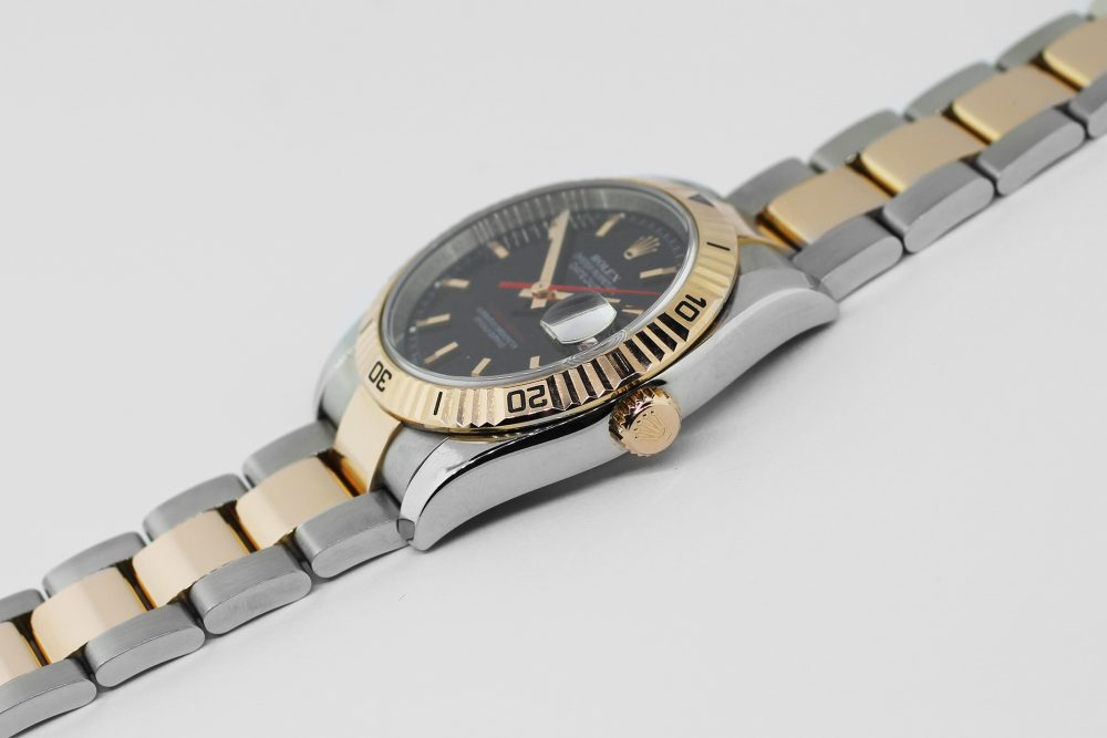 Rolex Two Tone Steel & Rose Gold Turn O Graph Datejust Black Dial 116261 with Box & Booklets