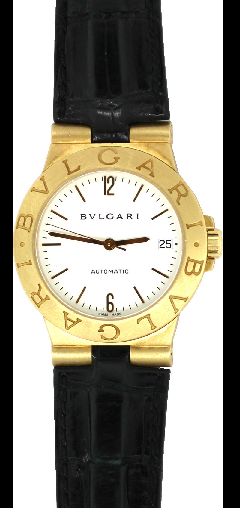Bvlgari 18k Yellow Gold Diagono Automatic with Date White Dial LCV 35 G 18k on Strap