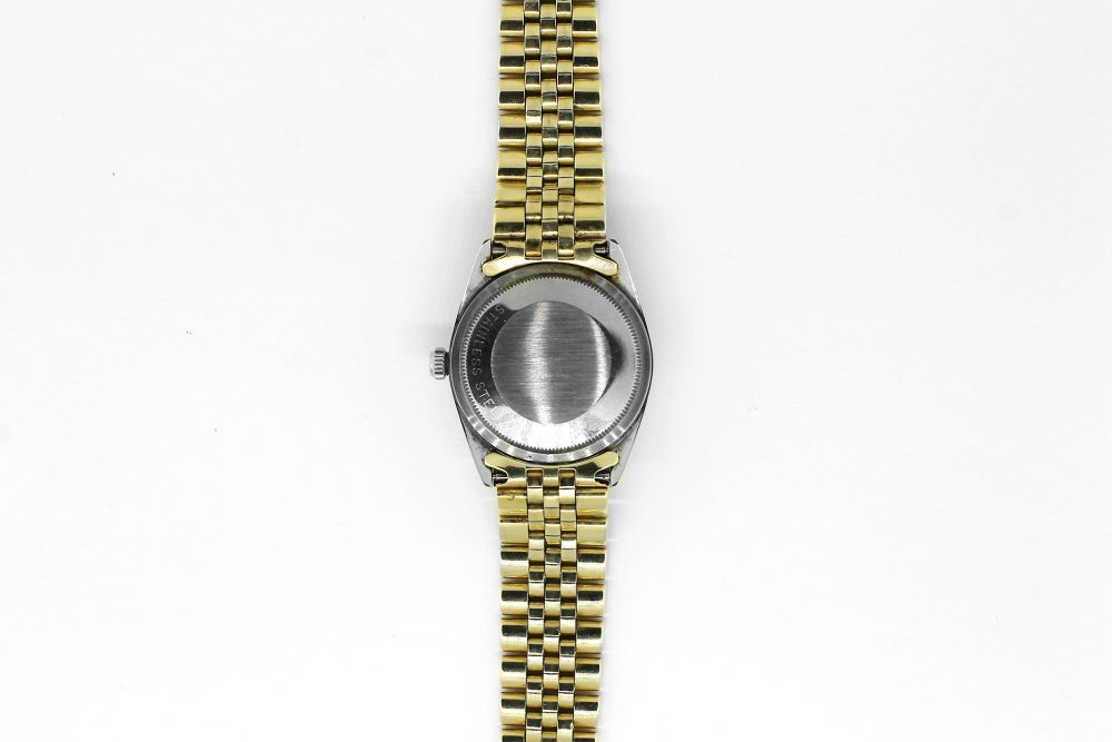 Vintage Rolex Gold Filled Yellow Gold Date with Rare Silver Brick Dial 1550 on Jubliee Bracelet