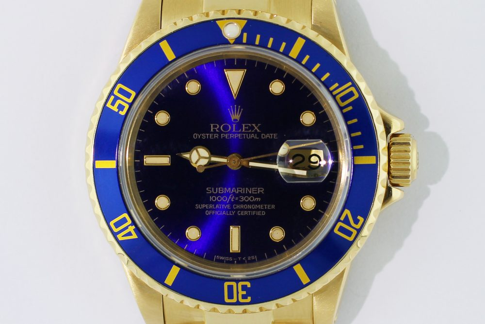 Rolex 18k Yellow Gold Blue Submariner 16808 with Box & Booklets