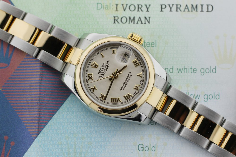 Rolex Two-Tone Datejust Ivory Pyramid Dial Model 179163 with Box & Paper