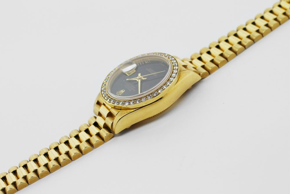Rolex 18k Yellow Gold President with Diamond Bezel and Black Onyx Dial Model 69178 with Box & Paper